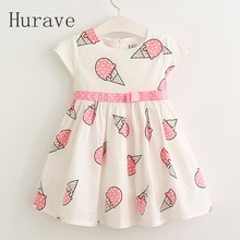 Hurave Sweet Girls ice cream printed kids dress for girl 2017 cute girls spring new children princess clothes dress