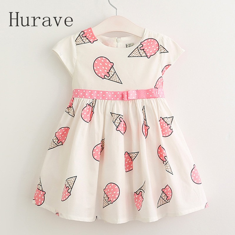 Hurave Sweet Girls ice cream printed kids dress for girl 2018 cute girls spring new children princess clothes dress material girl new beige black hieroglyphic printed dress msrp $44 dbfl