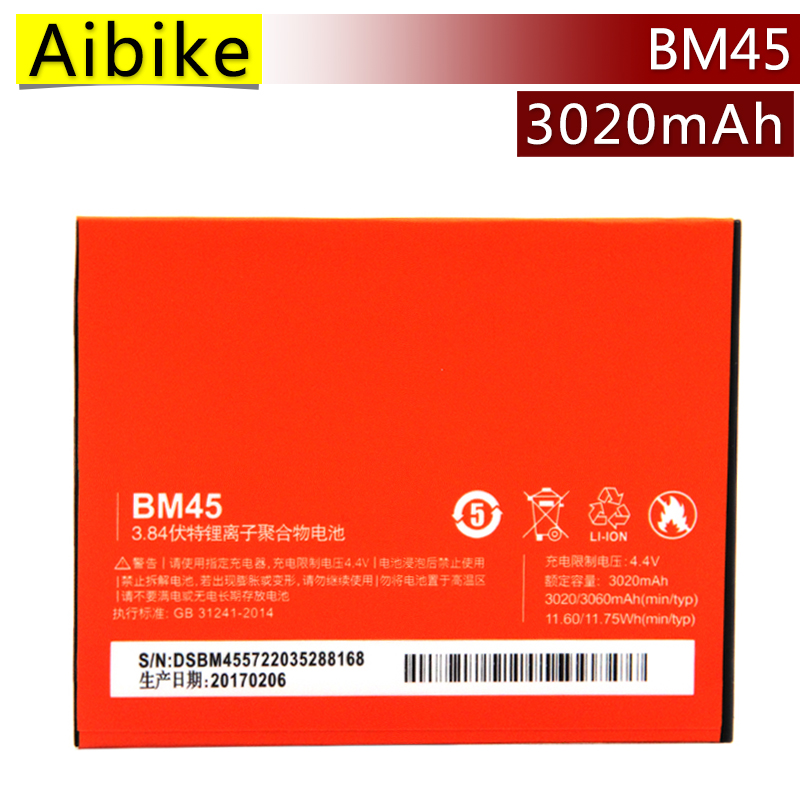 New original mobile phone battery BM45 For Xiaomi RedMi Note 2 Batteries Hongmi Red Rice Note2 3020mAh rechargeable Battery
