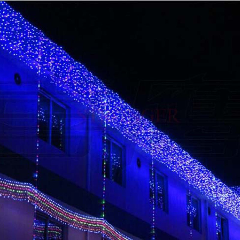 3.5m 96 Blue/Purple LED Icicle Waves Curtain Fairy Lights Christmas Garlands Wedding Party New Year Layout Background Decoration