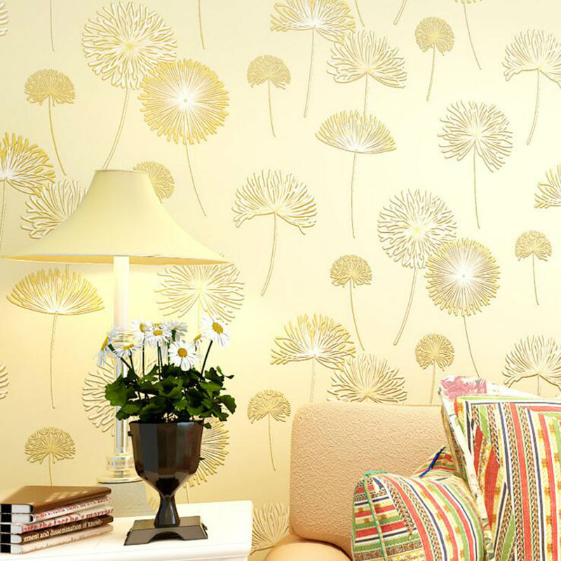 Non-woven 3D Rural Dandelion Style Wallpaper Rolls Romantic Wall Paper for Living Room Bedroom and TV Background