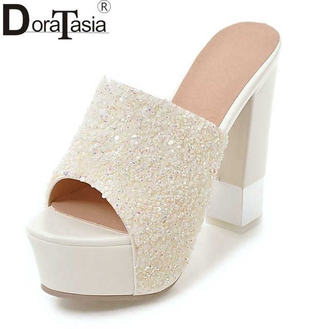 215a12b36a7b6 DORATASIA Brand Sexy Glitters Platform Mules Women Summer 2019 Solid White  High Heels Shoes Woman Large