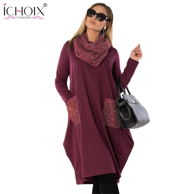 0509453fe46 ICHOIX Women 5xl 6xl Plus Size Winter Dress Turtleneck Knee Length Casual  Dress Ladies Work Wear Big Size Loose Office Dresses