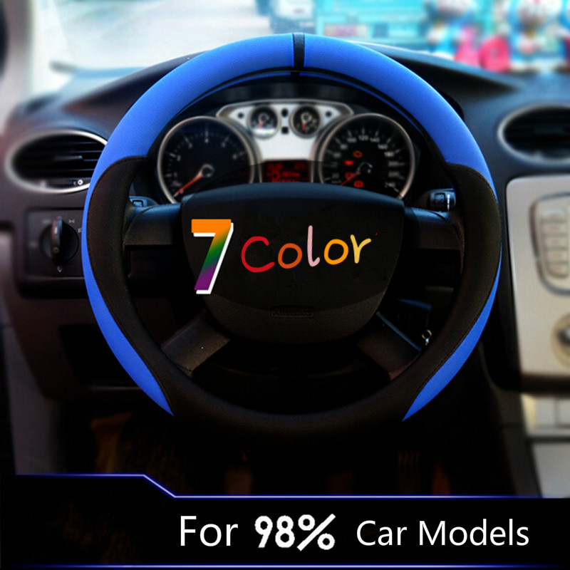 Car Racing Steering Wheel Cover Case PU Leather Cor For Peugeot Ford Focus Skoda Honda VW Golf 4 6 Nissan Qashqai blue white red autoyouth hot car wheel cover pu leather steering wheel cover fit 38cm red wavy bold line for vw golf 4