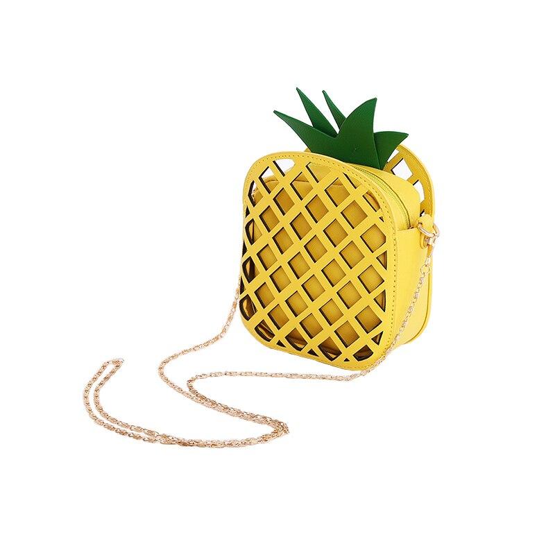 2018 Leather Cute Handbag for Women Pineapple Mini Fruit Handbag