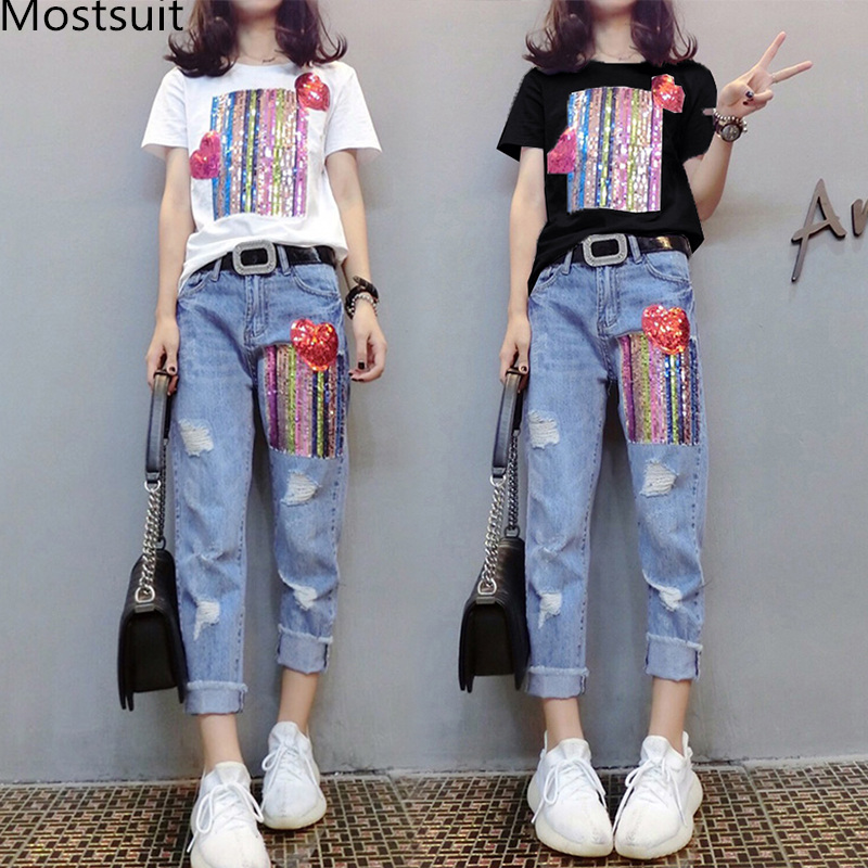 Summer Two Piece Sets Women Plus Size Short Sleeve Sequins Tshirts And Denim Ripped Jeans Sets Suits Casual Women's Sets M-5xl 25