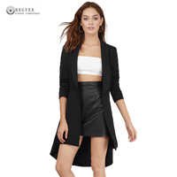 2017 New Women Blazers Big Size Long Coats Solid Long Sleeve One Button Spring Autumn Casual