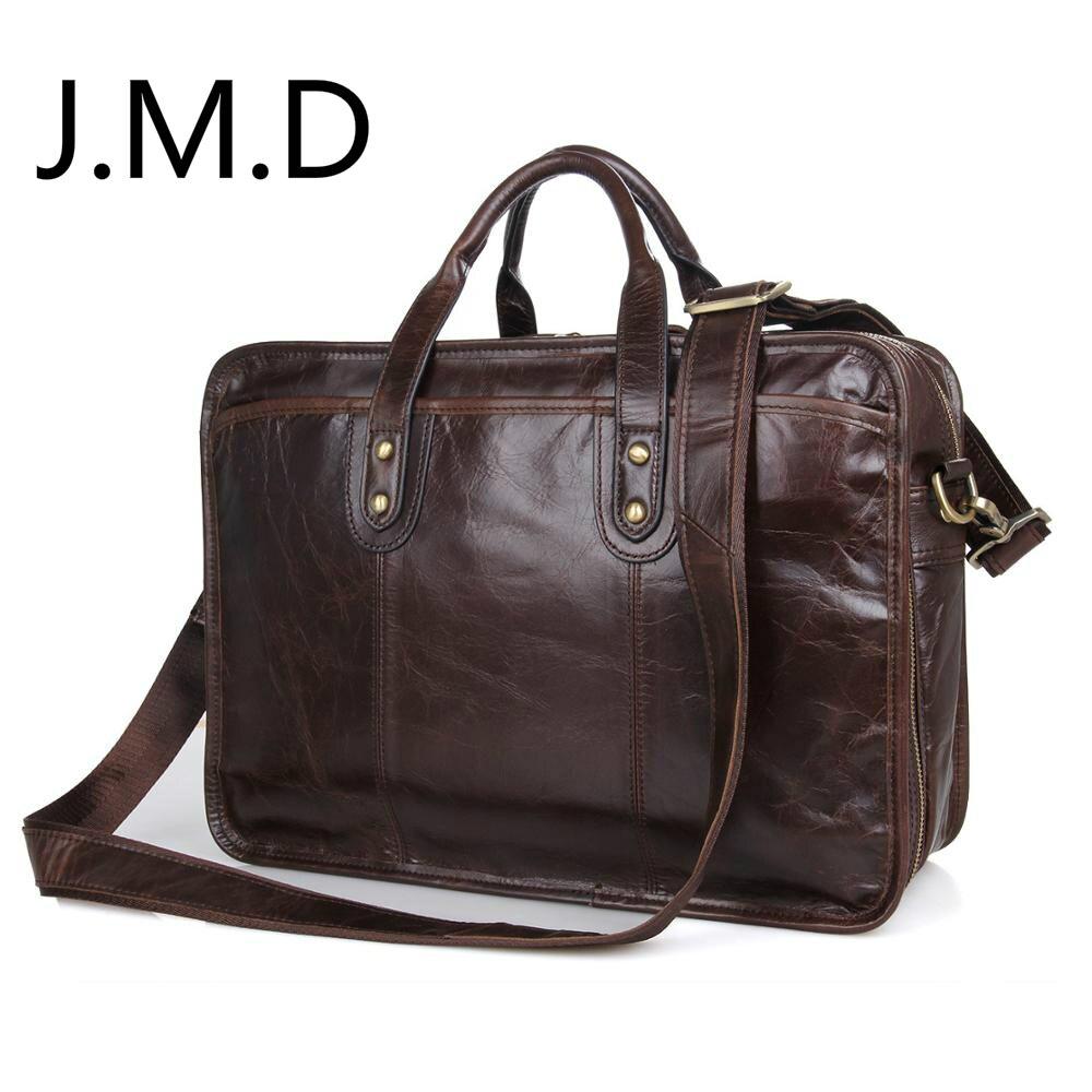 J.M.D 2018 New Arrival 100% Leather Briefcases Men's Cow Leather Messenger Shoulder Bag Handbags Travel Bags 7345