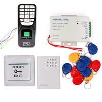 Biometric RFID 125KHz Proximity Card Door Entry Building Door Access Control System (Keypad Power Exit button Doorbell Keyfob)