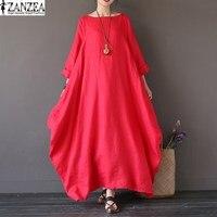 2017 ZANZEA Womens Crewneck 3 4 Sleeve Baggy Maxi Long Casual Party Shirt Dress Summer Kaftan