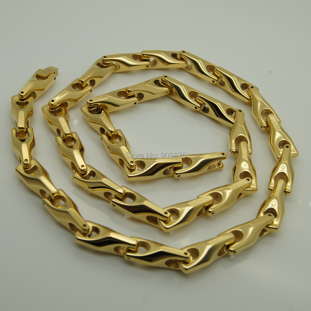 gold cuban chains chain solid pin yellow link women men necklace s