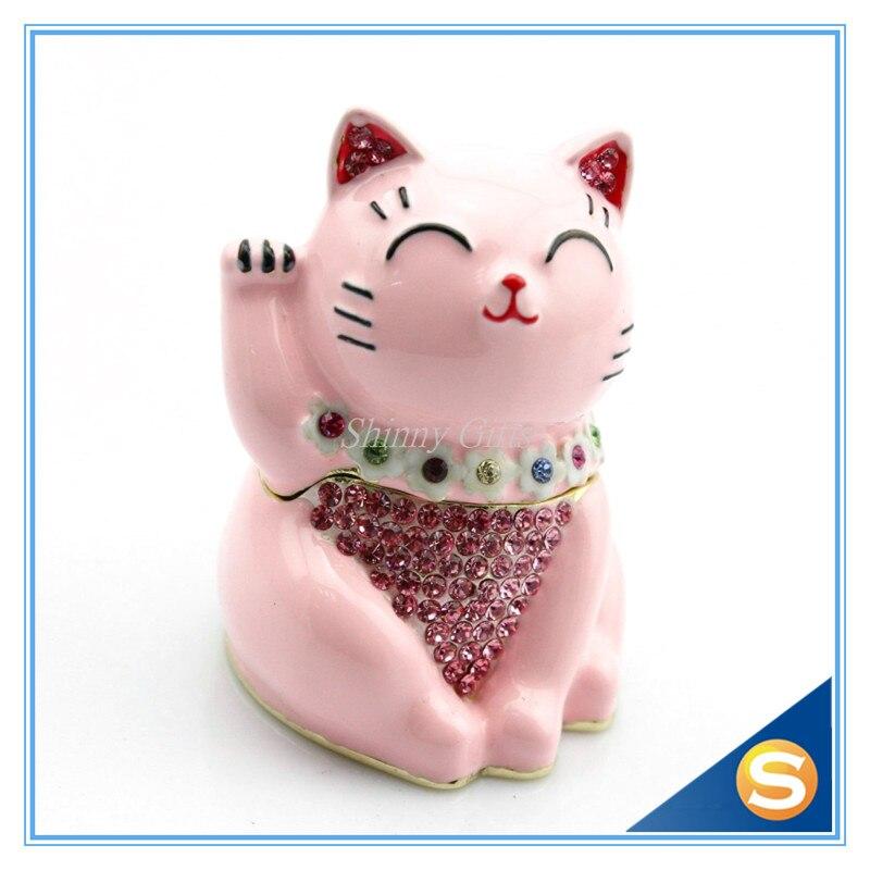 Cute Fortune Cat Hinged Jeweled Trinket Box Jewelry Earring Holding Box FengShui