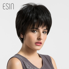 Esin Pixie Cut Natural Black Wigs Women Natural Short Straight Synthetic Wigs 8′ For Women Heat Resistant Female Hair Pieces