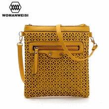 2017 творческая Дизайн PU кожа выдалбливают Цветок Для женщин Курьерские сумки известный бренд Для женщин Сумки на плечо женский Crossbody BOLSOS