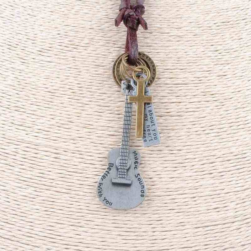 Fashion Leather Pendant Necklace Leather Guitar Shape Brown Leather Rope Band Necklaces Men Women Punk Jewelry Factory Outlet