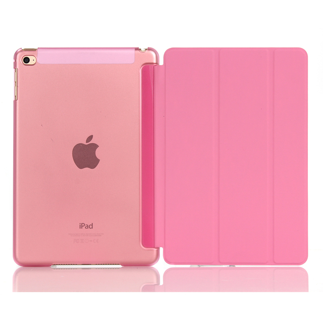 Smart Cover For iPad Mini4 Ultra Slim Flip PU Leather Case + PC translucent back case for Apple ipad mini 4