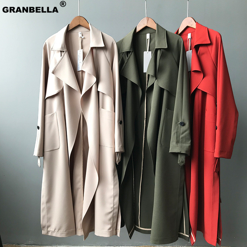 New arrival Office lady Cozy casual Lapal Collar Ladies Spring Fall loose   Trench   coats Plus size Women Outerwear