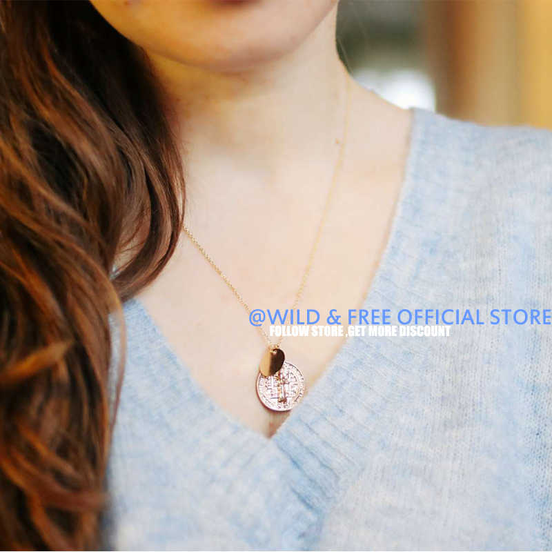 Wild&Free New Virgin Mary Round Pendant Necklace Gold-color Catholic Religious Jesus Sequins Coin Pendients Necklace Jewelry