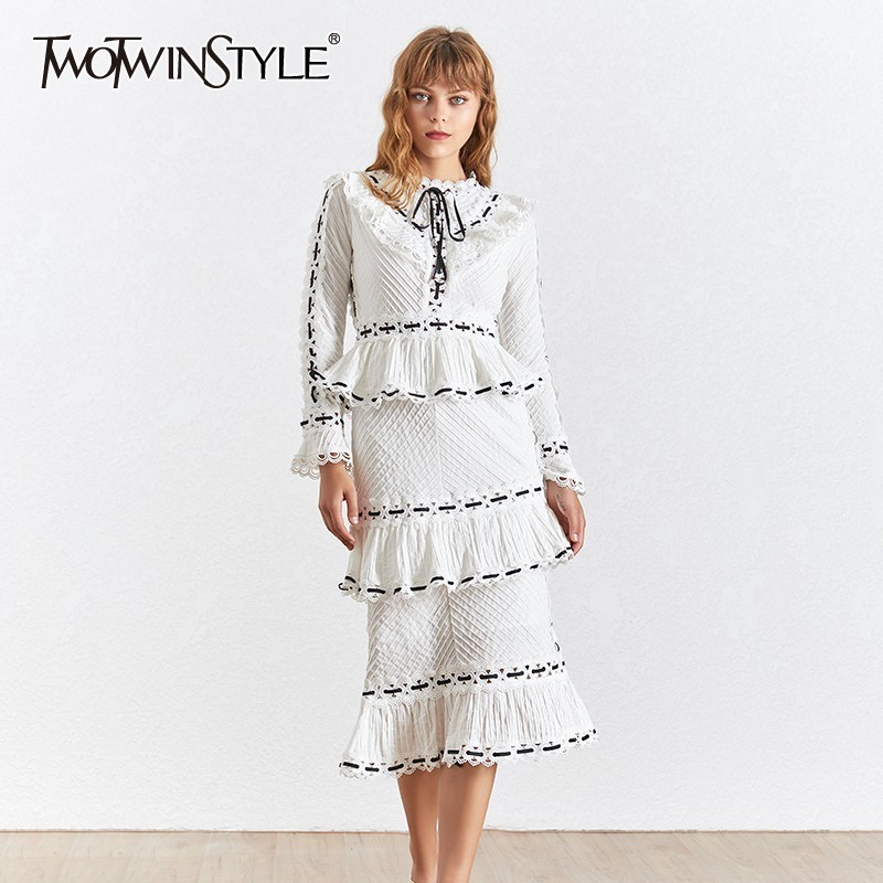 TWOTWINSTYLE Vintage Print Women Dress Stand Collar Flare Sleeve High Waist Hollow Out Slim Midi Dresses Female 2019 Summer-in Dresses from Women's Clothing    1