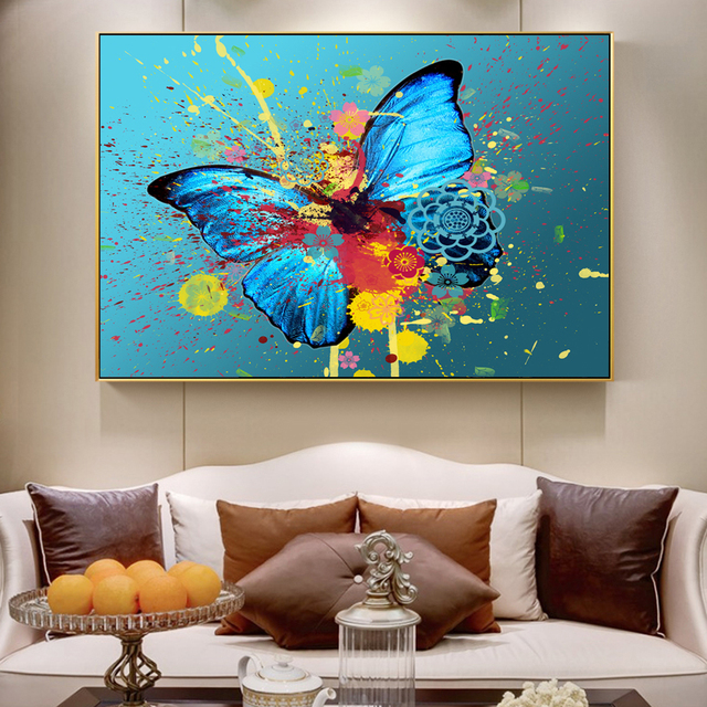 Graffiti Watercolor Butterfly Paintings On The Wall Abstract ...