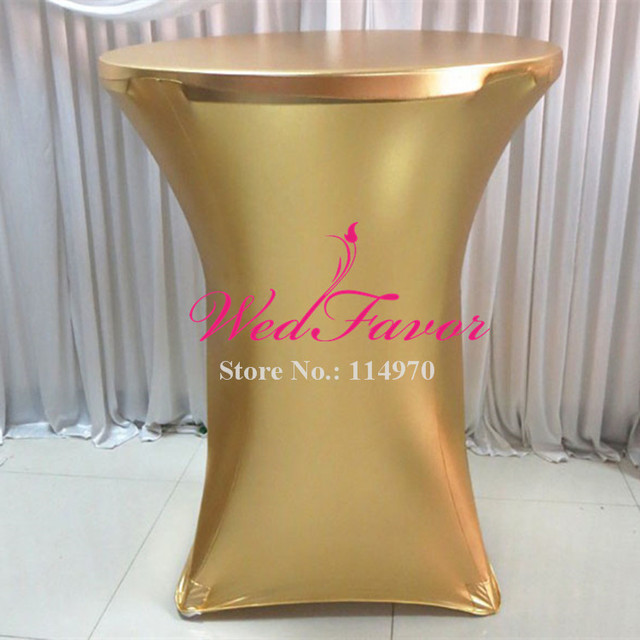 10pcs Metallic Gold Stretch Spandex High Bar Table Covers Bronzing Lycra Tail Cloths For Wedding