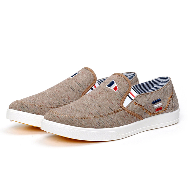 4b77234e7cc Shoes Men Slip On Canvas Shoes Comfy Loafers Casual Deck Plimsoll Pumps  light and wear-resistant Color Blue Coffee Shoe