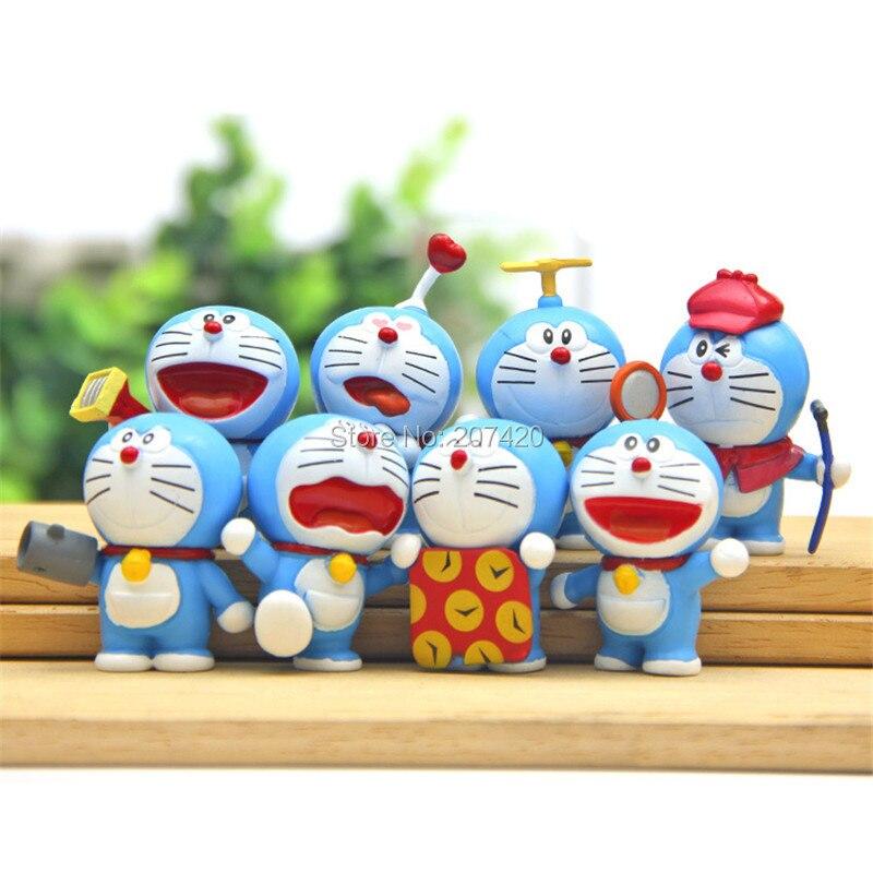 8pcs/set 4-5cm Anime Cartoon Cute Doraemon Mini PVC Figure Model Doll Toy Children Toys Gifts