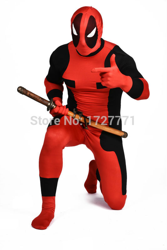 (DP912) Black And Red Tights Unisex Cheap Deadpool Fetish Zentai Suits Superhero Cosplay Halloween Party Costume