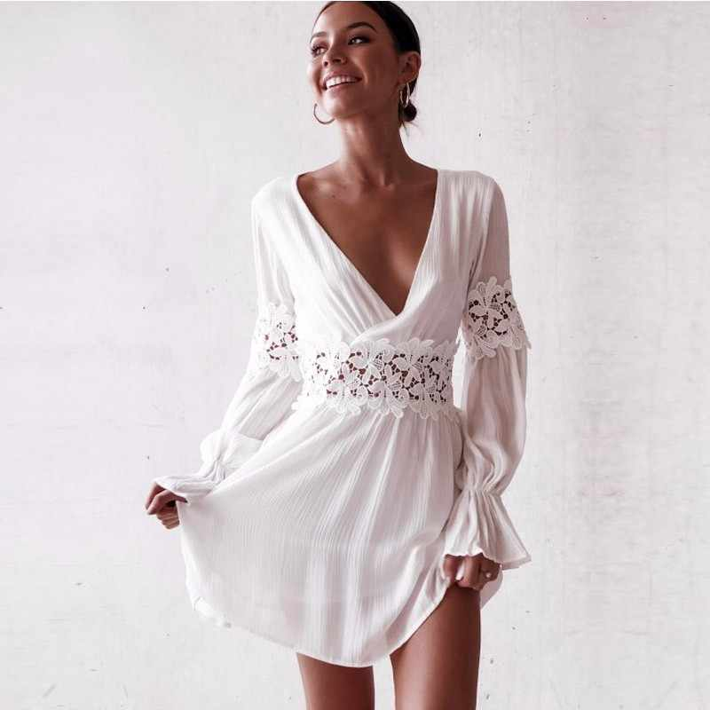 3d5d8e4157 ... DeRuiLaDy 2018 Sexy V Neck Lace Floral Hollow Out Mini Dress Autumn  Women Elegant White Beach ...