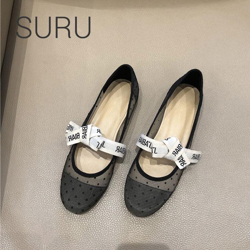 SURU Ladies Letter Ribbon Balllet Shoes Women Softness Mesh Leather Mary  Janes Ballerina Flats a48303e00c70