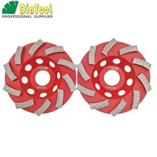 цена на 2pcs Diameter 4/100mm Diamond Grinding Cup wheel for Concrete, Grinding disc, Segmented turbo type