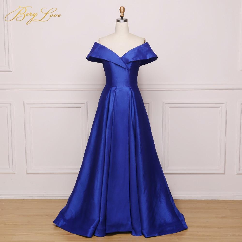 Jeanne Love Royal Sweetheart A Line Wedding Dresses 2019: Simple Royal Blue Evening Dresses 2019 High Slit Long