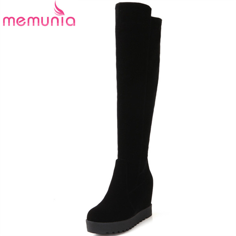 MEMUNIA Height increasing shoes woman autumn winter over the knee boots fashion flock zip platform shoes thigh high boots black memunia over the knee boots fashion punk motorcycle boots for women platform shoes woman height increasing big size 34 43