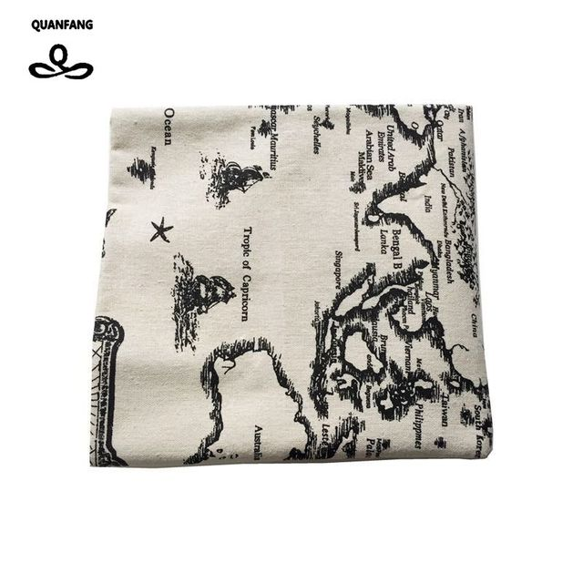Quanfang printed cotton linen fabric world map for quilting diy quanfang printed cotton linen fabric world map for quilting diy sewing sofa table cloth furniture cover gumiabroncs Images