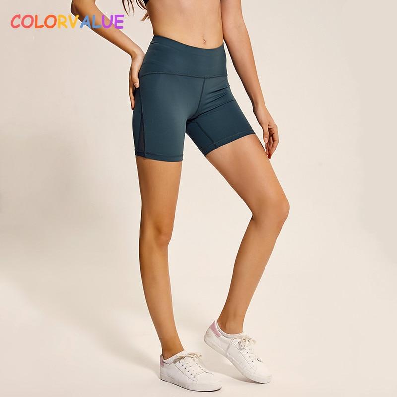 Deftig Colorvalue Slim Fit Hoge Taille Gym Sport Yoga Shorts Vrouwen Side Mesh Patchwork Fitness Atletische Shorts Met Achterzak Xs-xl