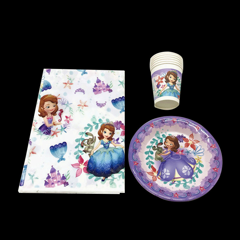 Disney Sofia Party Supplies For Girl Happy Birthday Decoration Tableware Set Princess 25pc/Pack Event Supply