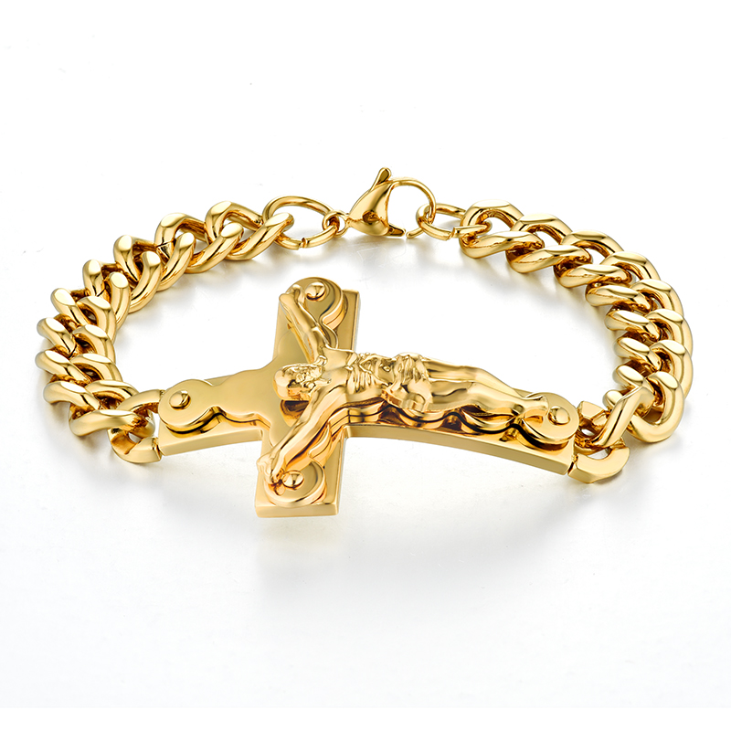 Mens Bracelets Stainless Steel Cuban Chain Crucifix Jewelry Gold Color Braslet For Man Jesus Cross Bangle Bracelet ...