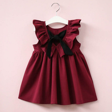 Girls Dresses Brand Princess Clothing Collar Back Bowknot Solid Color Cute Dresses For 2-6 Year 40