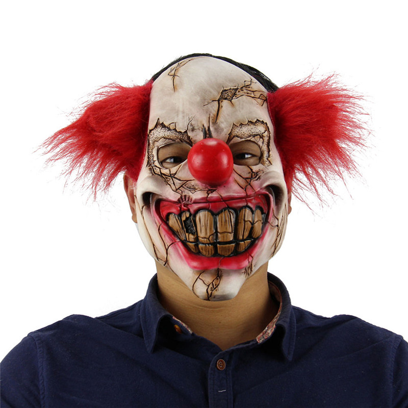 Plein Visage En Latex Masque Effrayant De Clown Halloween Costume