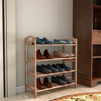 4 яруса из бамбука, для обуви Органайзер для хранения на полке Современный Высококачественный стеллаж для обуви HW52610
