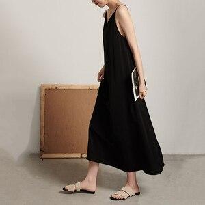 Image 5 - EAM robe longue à caractère féminin, nouveauté printemps/été, col en v, sans manches, Bandage croisé, dos nu, ample, à la mode, JW174