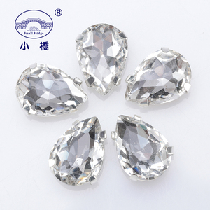 Glitter Flatback Crystal Sewing Beads Loose Diy Dress Stones With Claw Glass Water Droplets Beads For Needlework 10PCS S066(China)