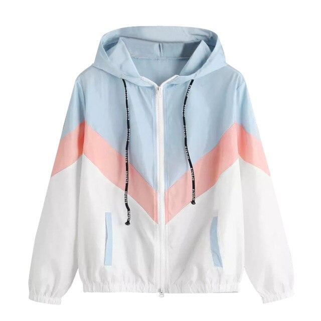 Women Windbreaker Jacket Female Multicolor Patchwork Hooded Jacket Basic Jackets Color Block Coats For Women 5