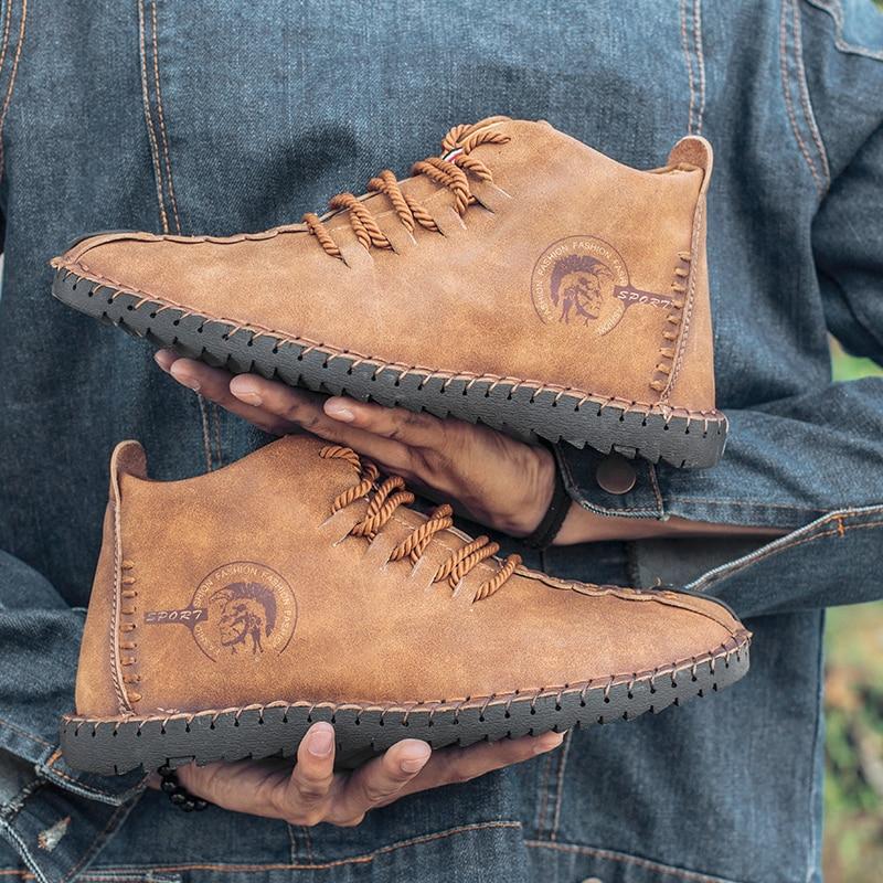 2018 New Fashion Leather Shoes Men Full Handtailor Vintage Sneakers Huarache Moccasins Non slip Super Hot Flats Black Big Sizes