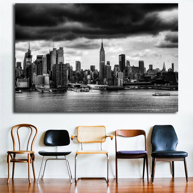Views Of New York City Skyline Black And White Canvas Posters Prints Wall Art Painting Decorative Picture Modern Home Decoration
