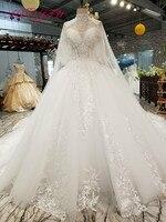 AXJFU Promotional Korean lace beading wedding dress Princess luxury o neck white lace flower wedding dress 799