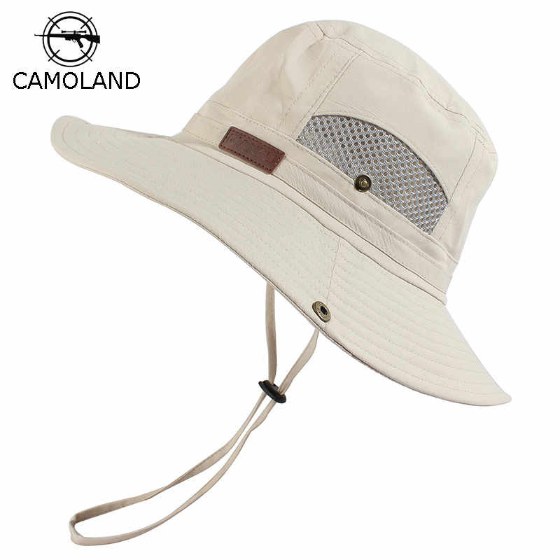 Summer Sun Hat Bucket Men Women Boonie Hat Quick Dry Outdoor UV Protection Hiking Fishing Mesh Breathable Panama Hat UPF50+