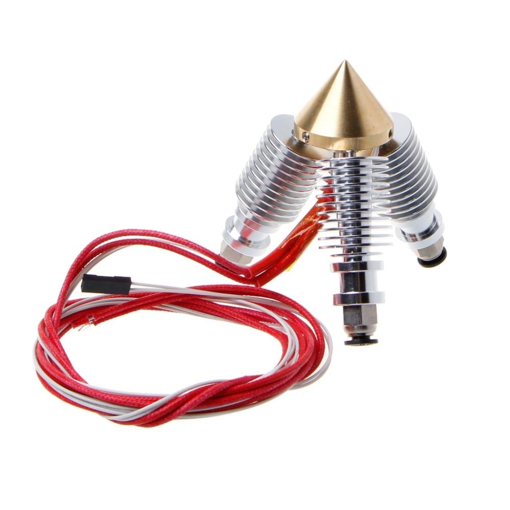 Brass Diamond Extruder Reprap Hotend 3D V6 heatsink 3 IN 1 OUT Multi Nozzle Extruder 3D printer kit for 1.75/0.4mm 3d v6 short distance heatsink brass color nozzle 3 in 1 out 0 4mm for 1 75mm multi nozzle for 3d printer
