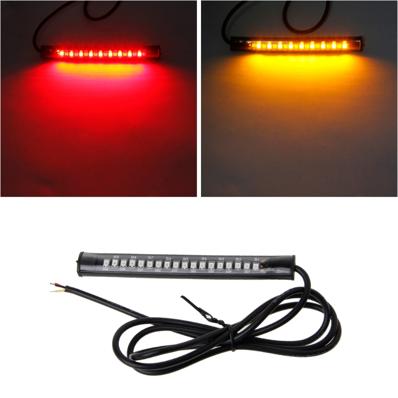 HNGCHOIGE Universal 18 LED Motorcycle ATV Tail Brake Light Stop Turn Signal Lamp Flexible Strip Light For Honda Cafe Racer motorcycle accessories led twin dual tail turn signal brake license plate integrated light for harley bobber cafe racer atv