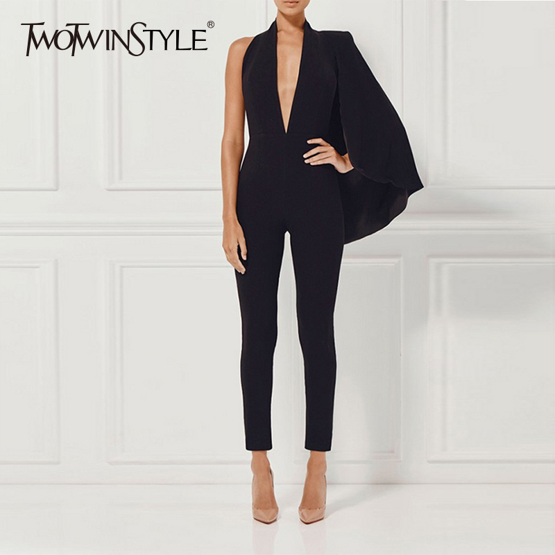 TWOTWINSTYLE Patchwork Jumpsuits Ladies Sleeveless V Neck Backless Sexy High Waist Long Pencil Trousers 2019 Spring